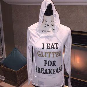 I eat glitter for breakfast shirt size M white gol